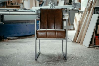 Esszimmer Sessel Leder Industriedesign