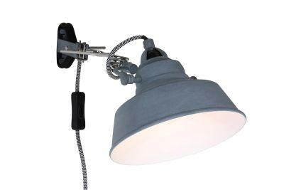 Industrial Wandlampe aus Metall in grau
